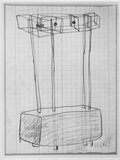 """Disegno per scultura n. 7 – Progetto per scultura """"Autoritratto"""" / Drawing for Sculpture No. 7 – Project for Sculpture """"Self-Portrait"""""""