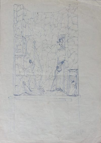 """Disegno – Studio per """"Il canto del fuoco"""" / Drawing – Study for """"Song of Fire"""""""